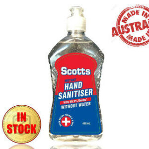 (450mL) Scotts Hand Sanitiser 70% Ethyl Alcohol Kills 99.99% Germs and Bacteria