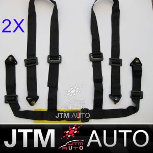 2 X 4 POINT HARNESS RACING SEAT BELT Black With Bolts