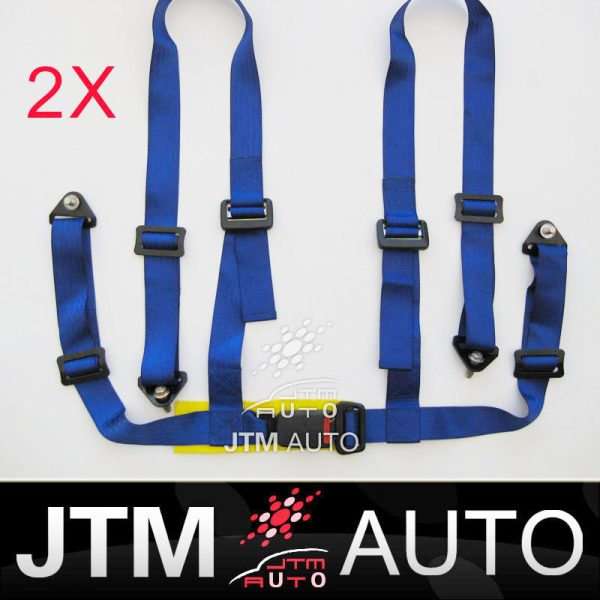 2 X 4 POINT HARNESS RACING SEAT BELT BLUE WITH BOLTS