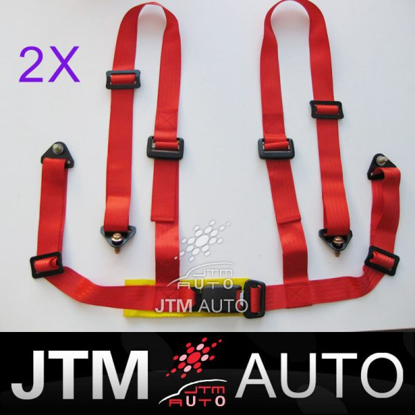 2 X 4 POINT HARNESS RACING SEAT BELT RED WITH BOLTS
