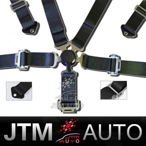 BN 5 POINT RACING CAMLOCK SEAT BELT HARNESS BLACK
