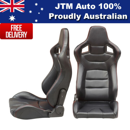 BN PAIR PU Leather BLACK WITH RED STITCHING RACING SPORT SEATS