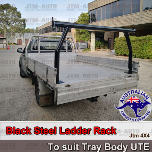 Universal Black Steel Ladder Rack Roll Bar fits Ute Trays Body H:940mm/1070mm