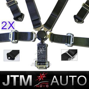 BN 2 X 5 POINT CAMLOCK RACING BELT HARNESS BELTS BLACK