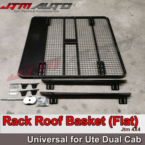 Universal Black Roof Rack Roof Basket (Flat) to suit Ute Dual Cab