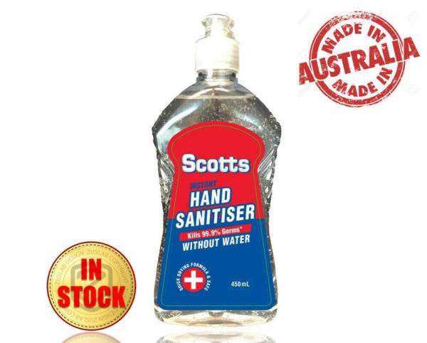 (450mL) Scotts Hand Sanitiser 70% Ethyl Alcohol Kills 99.99% Germs and Bacteria