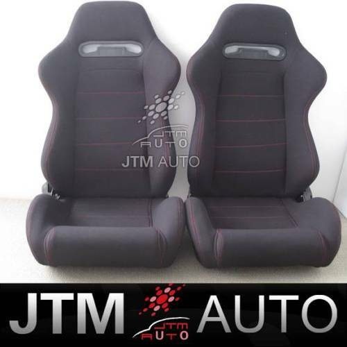 2 X RED STITCH FABRIC BLACK SPORT RACING SEATS + RAILS