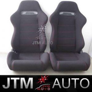 2 X RED STITCH FABRIC BLACK SPORT RACING SEATS + RAILS