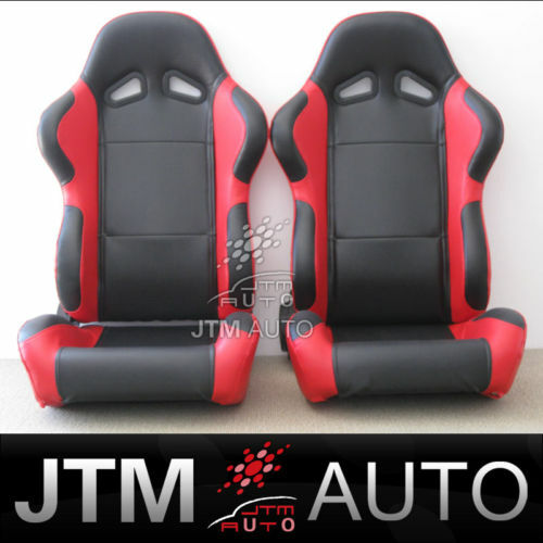 BN PAIR BLACK AND RED PU LEATHER ADJUSTABLE RACING SPORT SEATS