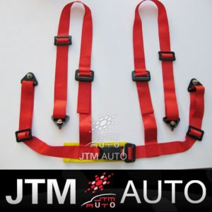 BN RED UNIVERSAL 4 POINT RACING HARNESS SEAT BELT