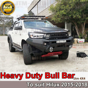Heavy Duty Steel Bull Bar Winch Compatible to suit Toyota Hilux Revo 2015-2018