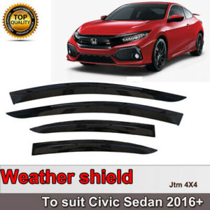 Slim Weather Shield Weathershield Window Visor for Honda Civic Sedan 2016-2020