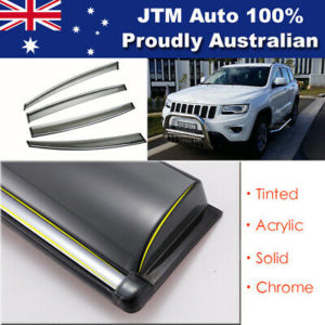 Chrome Weather Shield Weathershield Window Visor for Jeep Grand Cherokee 10-20