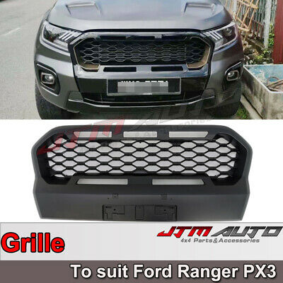 Front Mesh Grill to suit Ford Ranger Matte Black PX3 2018 2019 2020 Wildtrak
