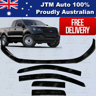 Bonnet Protector + Weather Shields Visor for Ford Ranger PX3 Extra Cab 2018+