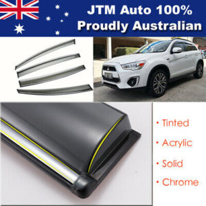 INJ Chrome Weather Shield Weathershield Window Visors For Mitsubishi ASX 10-20
