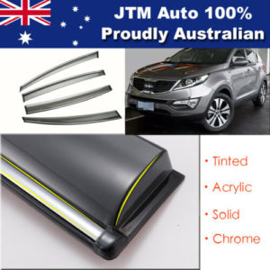 INJ Chrome Weather Shield Weathershield Window Visor for Kia Sportage SL 10-15