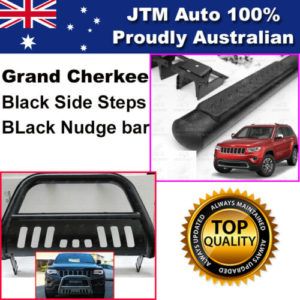 Matte Black Side Steps + Nudge Bar to suit Jeep Grand Cherokee 2011-2020