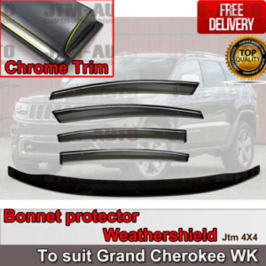 Bonnet Protector Guard + Weather Shields Visor to suit JEEP Grand Cherokee 10-19