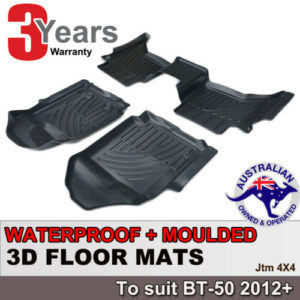 3D TPO Floor Mats Waterproof For Mazda BT-50 BT50 Dual Cab 2012-2020