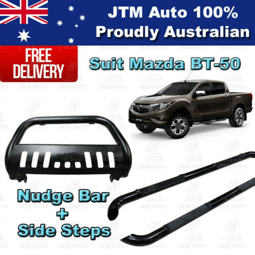 Side Steps + Nudge Bar Black Stainless Steel to suit Mazda BT-50 2012-2020