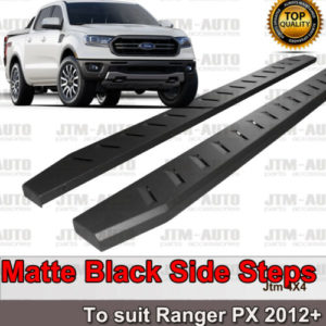 Heavy Duty Steel Black Off road Side Steps suit Ford Ranger PX PX2 PX3 2012-2020