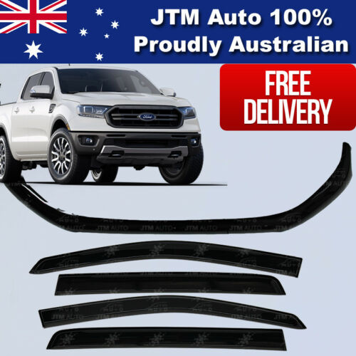 Bonnet Protector + Window Visors Weather shields to suit Ford Ranger PX3 2018+