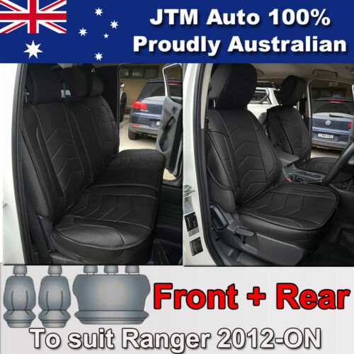 PREMIUM Black PU leather Waterproof Seat Covers for Ford Ranger PX 2012-2018