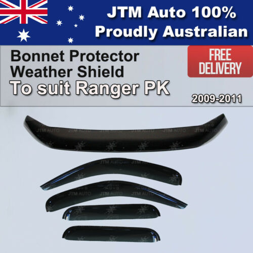 Bonnet Protector + Window Visor Weather shields to suit Ford Ranger PK 2009-2011