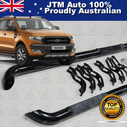 For Ford Ranger T7 PX2 Dual Cab Running Boards Black Steel Side Steps 2015-2020