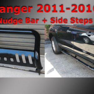 Black Side Steps + Nudge Bar to suit Ford Ranger PX 2011-2020