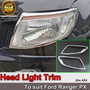 Chrome Head Light Trim Cover Protector to suit Suits Ford Ranger 2012-2015