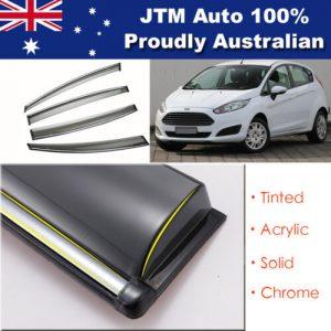 INJ Chrome Weather Shield Weathershield Window Visor For Ford Fiesta Hatch 09-18