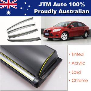 INJ Chrome Weather Shield Weathershield Window Visor For Ford Fiesta Sedan 10-18
