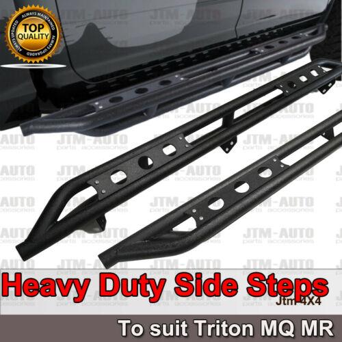 Heavy Duty Armor Steel Black Off road Side Steps for Mitsubishi Triton MQ MR 15+