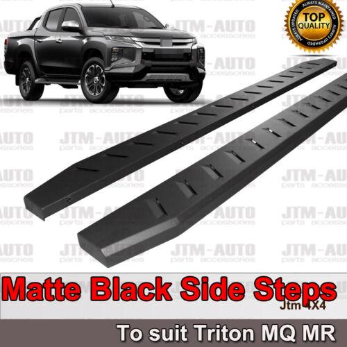 Heavy Duty Steel Black Off road Side Steps suit Mitsubishi Triton MQ MR 2015+