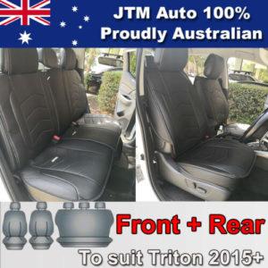PREMIUM Black PU leather Waterproof Seat Covers for Mitsubishi Triton 2015-2019