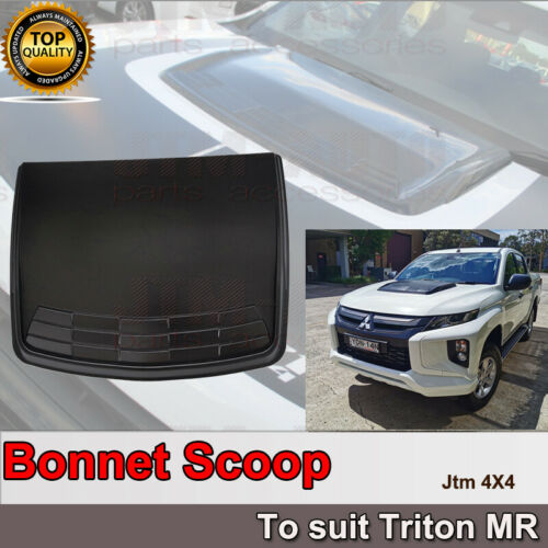 Matt Black Bonnet Scoop Hood Cover to suit Mitsubishi Triton MR 2019+