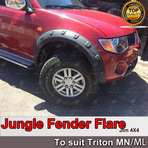 To suit Mitsubishi Triton MN ML Wrinkle Black Fender Flares Wheel Arch 2005-2014