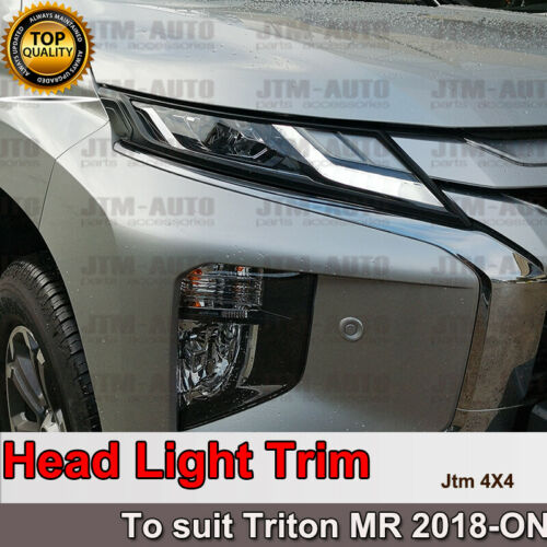 Matte Black Head Light Trim Cover Suits Mitsubishi Triton MR 2018-2021