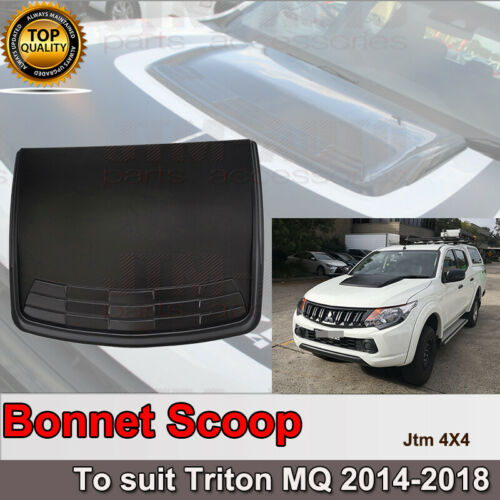 Matt Black Bonnet Scoop Hood Cover to suit Mitsubishi Triton MQ 2014-2018