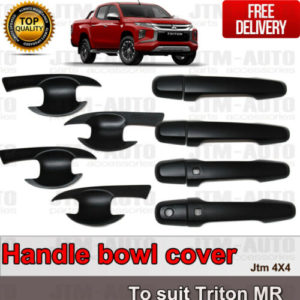 MATT Black Door Handle Bowl Cover Protector For Mitsubishi Triton MR 2018