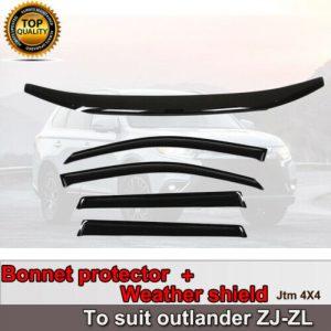 Bonnet Protector + Weathershield Visors for Mitsubishi Outlander ZL ZK 2012-2020