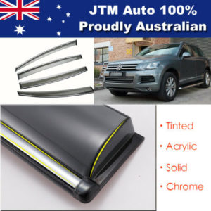 INJ Chrome Weather Shield Weathershield Window Visor for VW Touareg 2011-2018