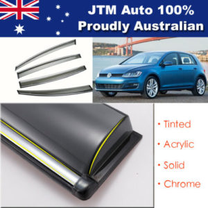 INJ Chrome Weather Shield Weathershield Window Visor for VW Golf MK7 2014-2018
