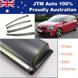 INJ Chrome Weather Shield Weathershield Window Visor for VW Golf MK6 2009-2013