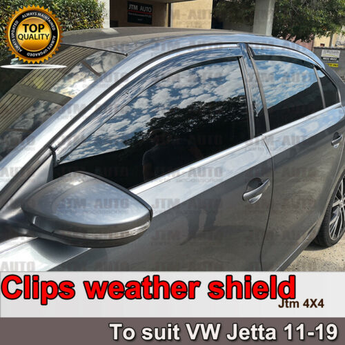 INJ Chrome Weather Shield Weathershield Window Visor for VW Jetta 2011-2018