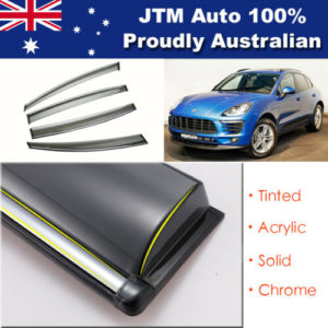 INJ Chrome Weather Shield Weathershield Window Visors suits Porsche Macan 2014+