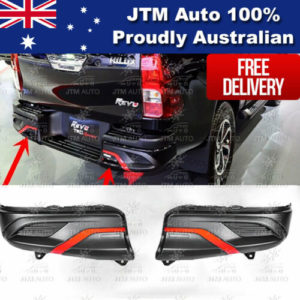 Black Red Rear Bumper Cladding Guard Protector to suit Toyota Hilux 2015-2019