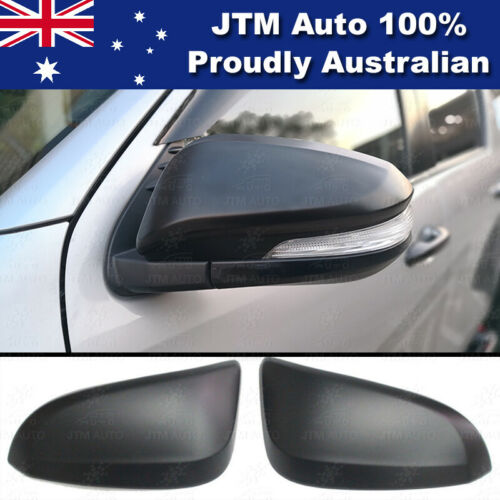 Matte Black Mirror Cover Indicators to suit Toyota Hilux Workmate SR SR5 15-19